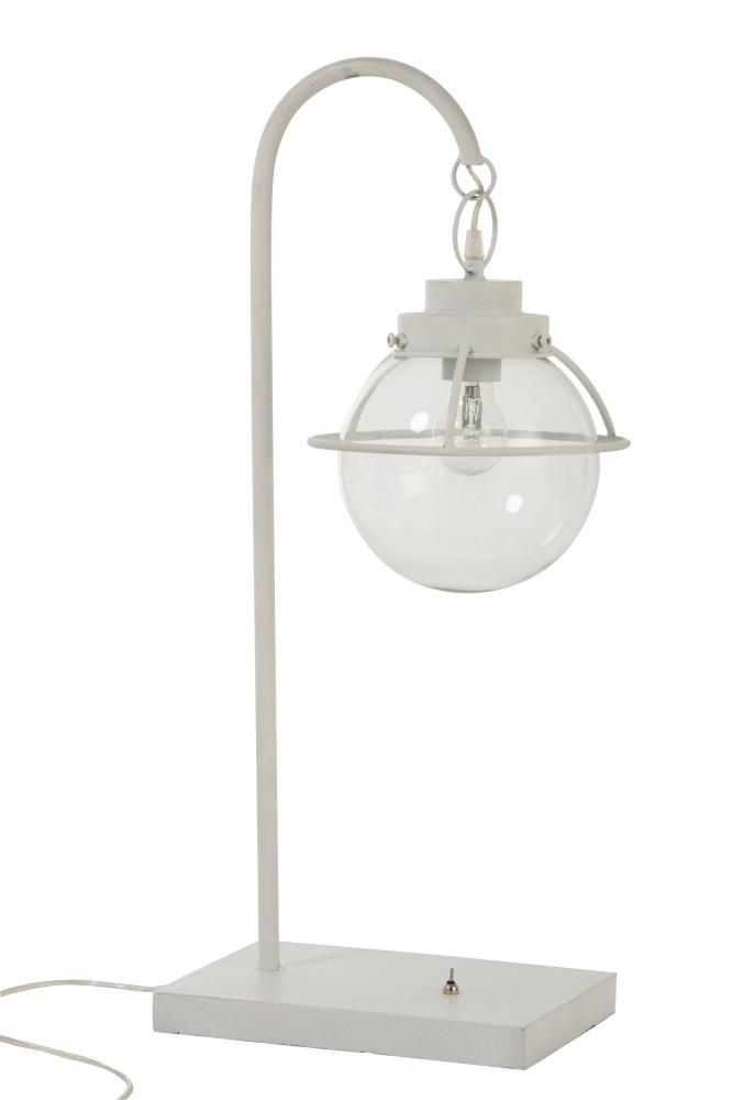 J-line Lamp Bol Hang Metaal/Glas Wit