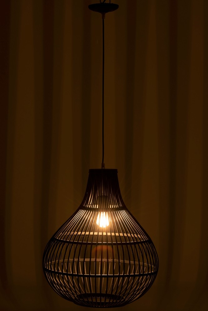 J-line Lamp Hang Spijlen Bamboe Zwart