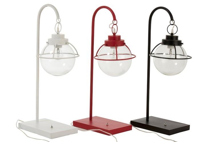 J-line Lamp Bol Hang Metaal/Glas Zwart