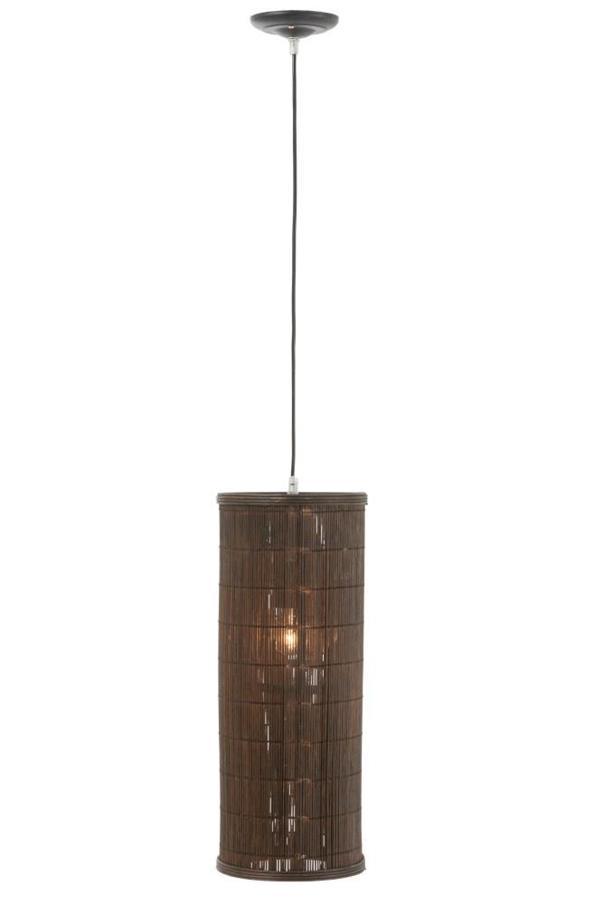 J-line Lamp Hang Cilinder Bamboe Bruin Large