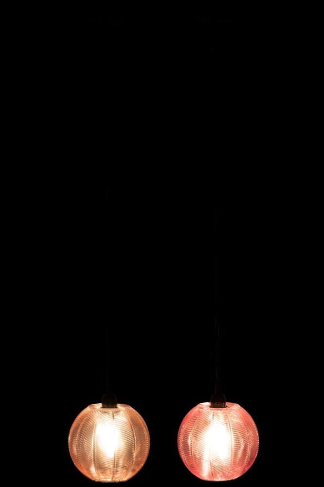 J-line Lamp Ribbels Rond Glas Roze/Paars Assortiment Van 2-92495-5415203924957