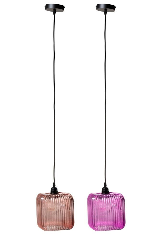 J-line Lamp Ribbels Vierkant Glas Roze/Paars Assortiment Van 2-92496-5415203924964