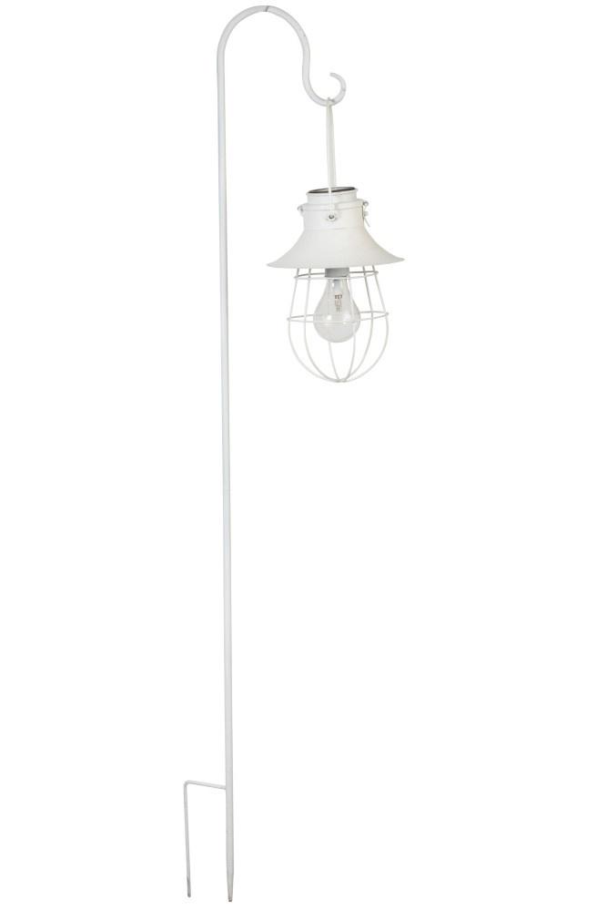 J-line Lamp+Stok Zonnepaneel Metaal/Glas Wit