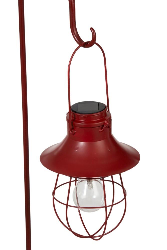 J-line Lamp+Stok Zonnepaneel Metaal/Glas Rood