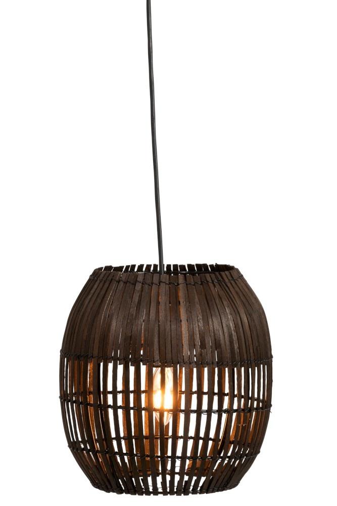 J-line Lampenkap Streep Bamboo Bruin Small-94290-5415203942906
