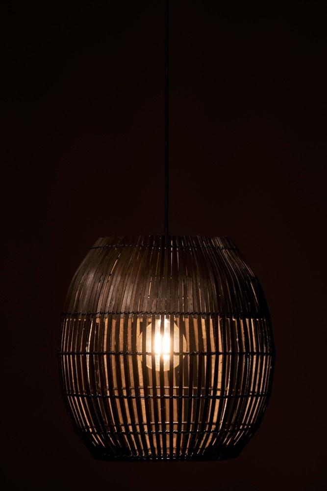 J-line Lampenkap Streep Bamboo Bruin Large-94291-5415203942913