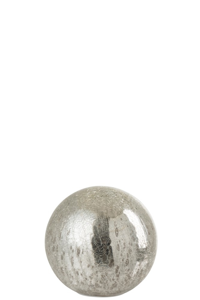 J-line Bal Led Glas Zilver Small