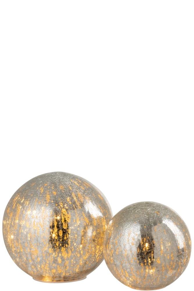 J-line Bal Led Glas Zilver Large-95574-5415203955746
