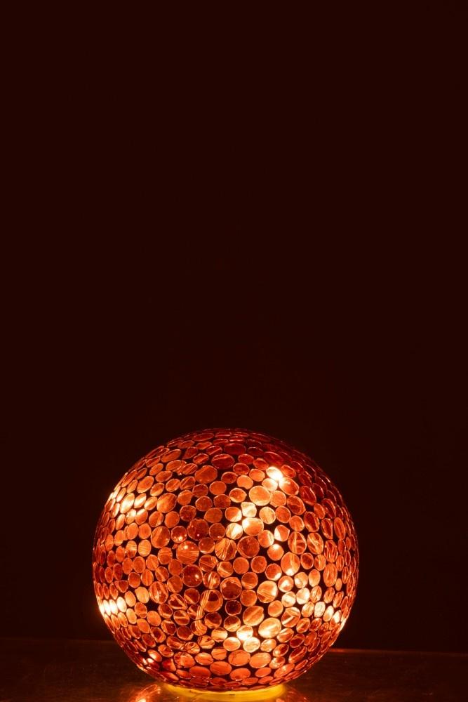J-line Bal Led Mozaiek Glas Rood/Wit Small-95583-5415203955838