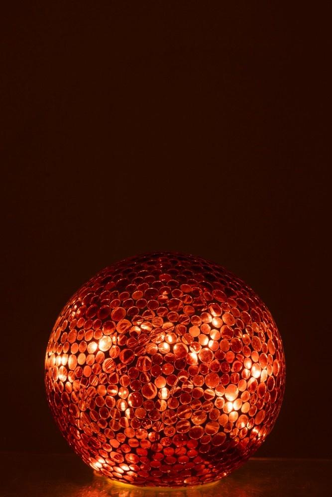 J-line Bal Led Mozaiek Glas Rood/Wit Large-95584-5415203955845