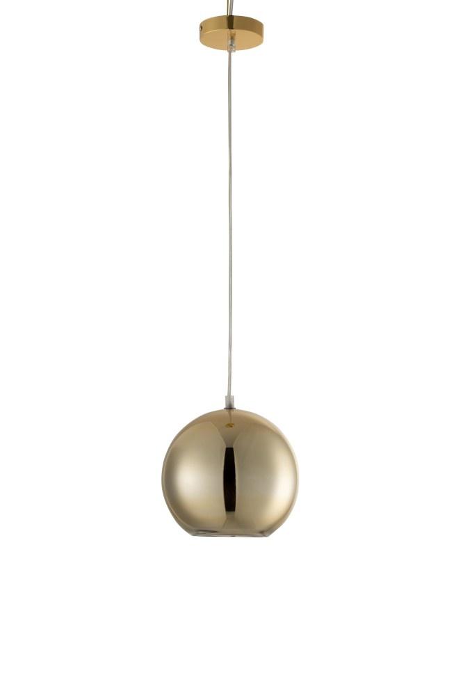 J-line Lamp Bol Hangend Glas Goud Small