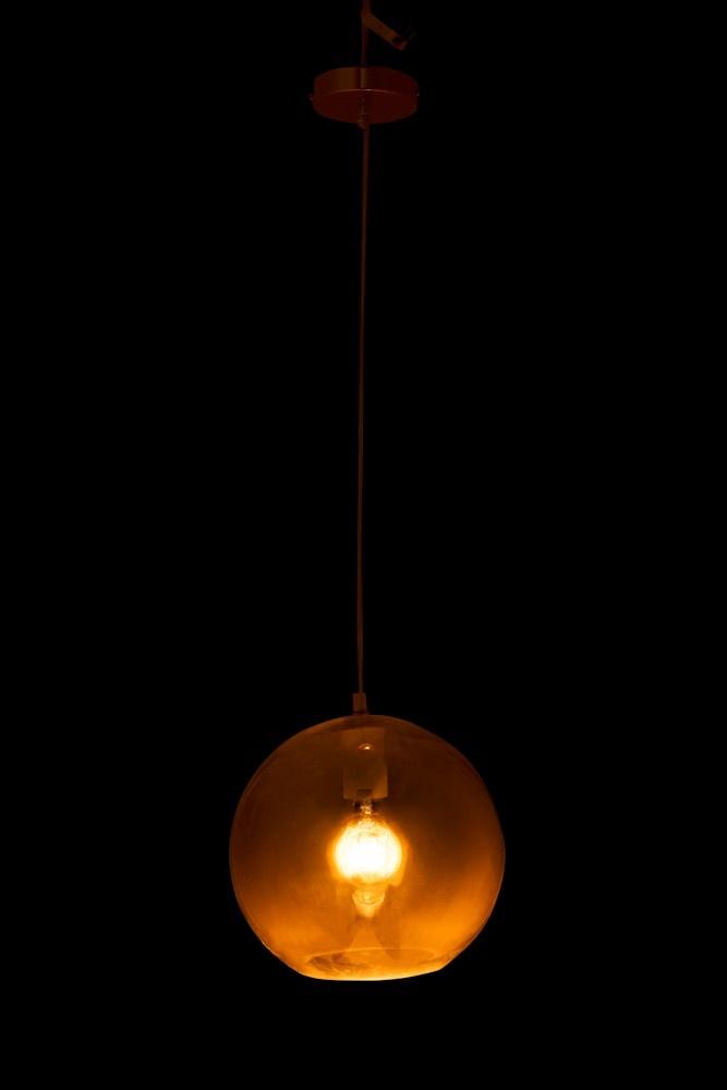 J-line Lamp Bol Hangend Glas Goud Medium-95658-5415203956583
