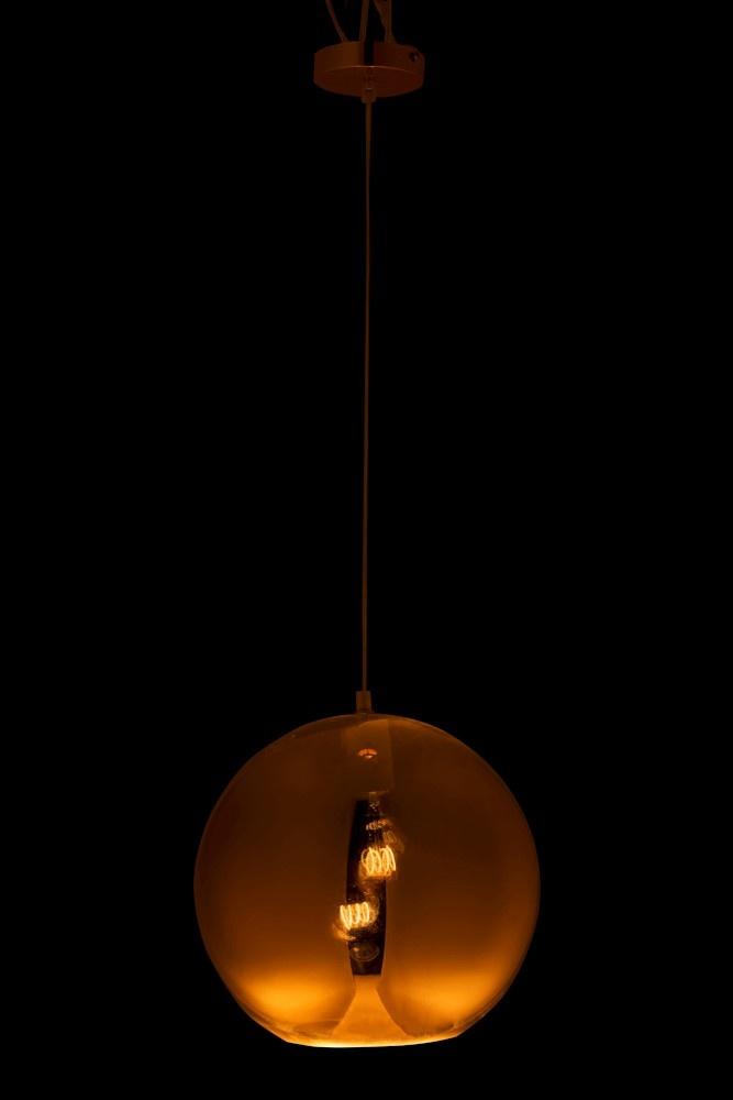 J-line Lamp Bol Hangend Glas Goud Large