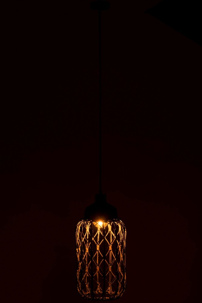 J-line Lamp Rattan Donker Grijs-95925-5415203959256