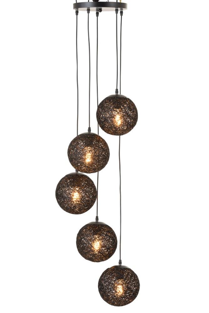 J-line Hanglamp 6 Bollen Ratan Zwart