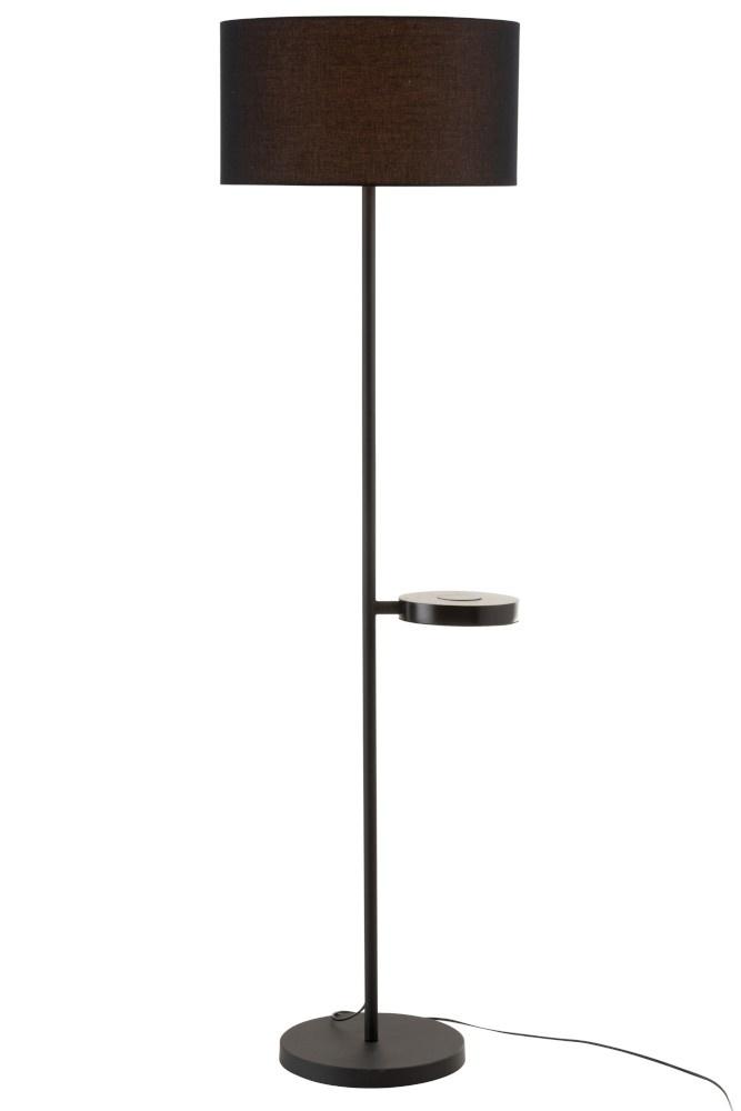 J-line Staanlamp Met Gsm Lader Metaal Zwart