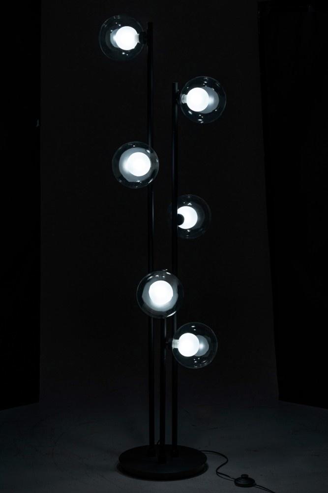 J-line Staanlamp 6 Bollen Metaal/Glas Zwart-95961-5415203959614