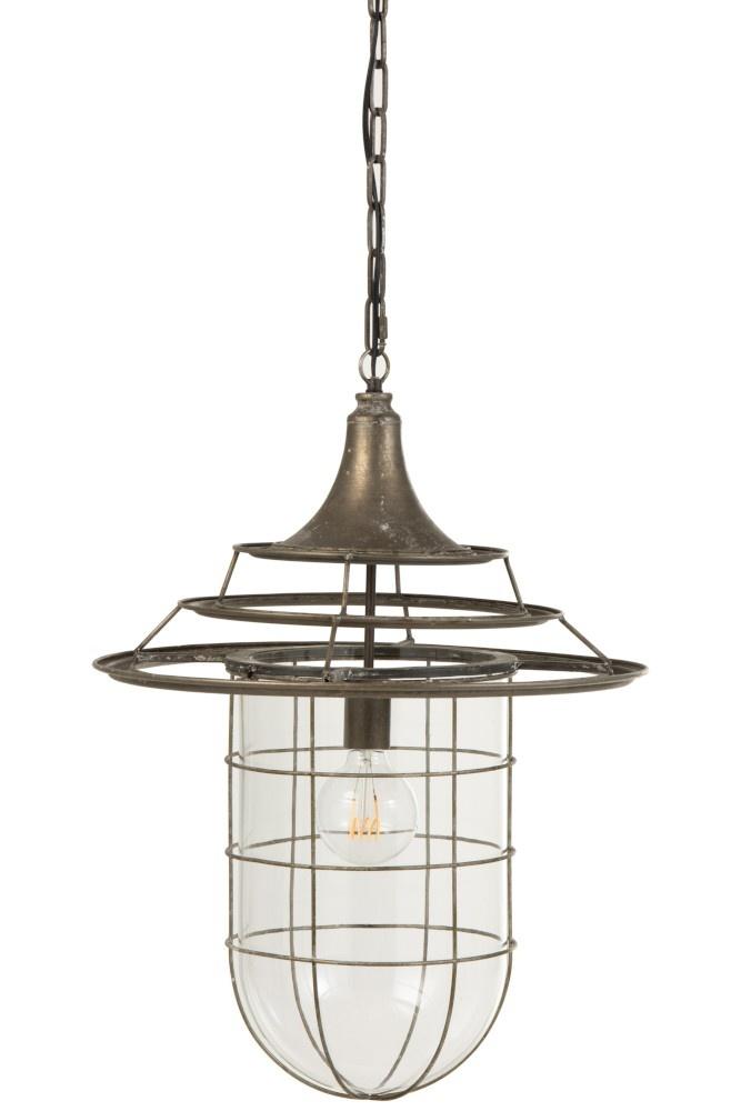 J-line Hanglamp Met Kap Metaal/Glas Grijs-96048-5415203960481