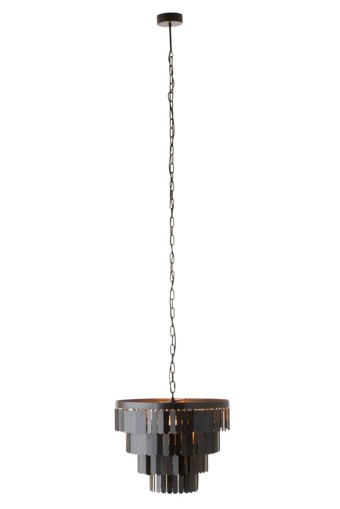 J-line Hanglamp In Lagen Metaal Zwart-96054-5415203960542