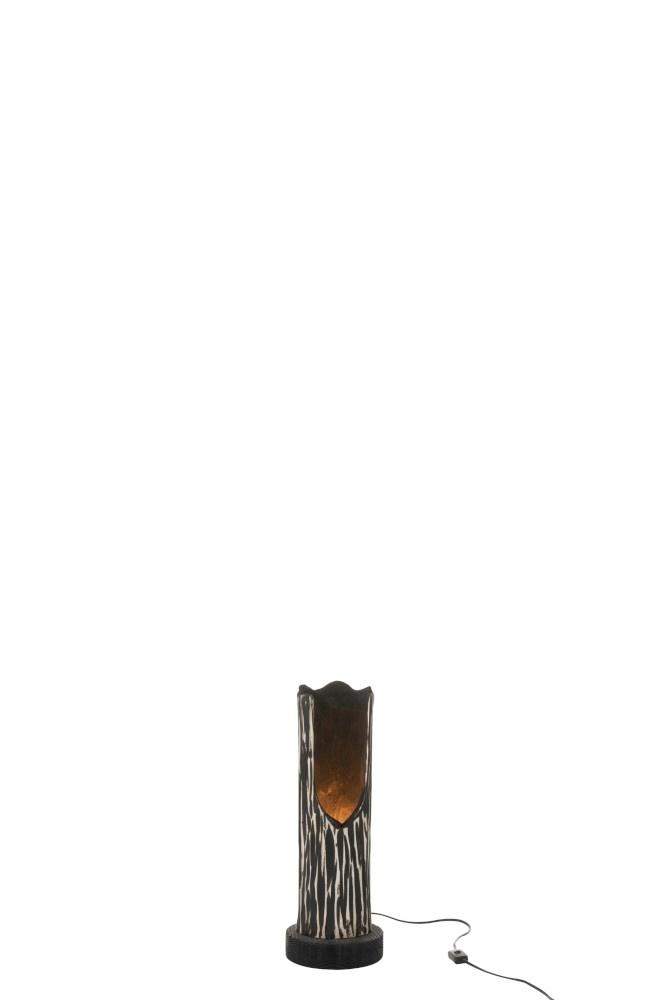 J-line Tafellamp Stam Open Paulownia Gestreept Zwart Beige-96256-5415203962560