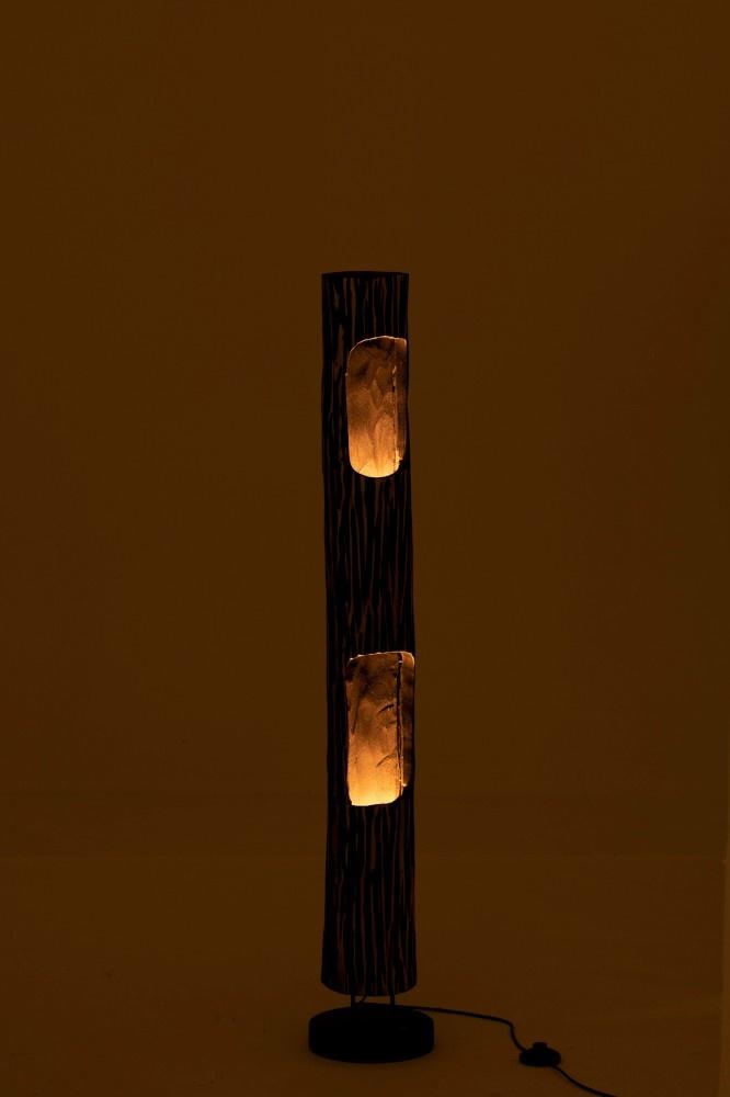 J-line Lamp Staand Stam 2Gaten Paulownia Gestreept Zwart Beige-96257-5415203962577