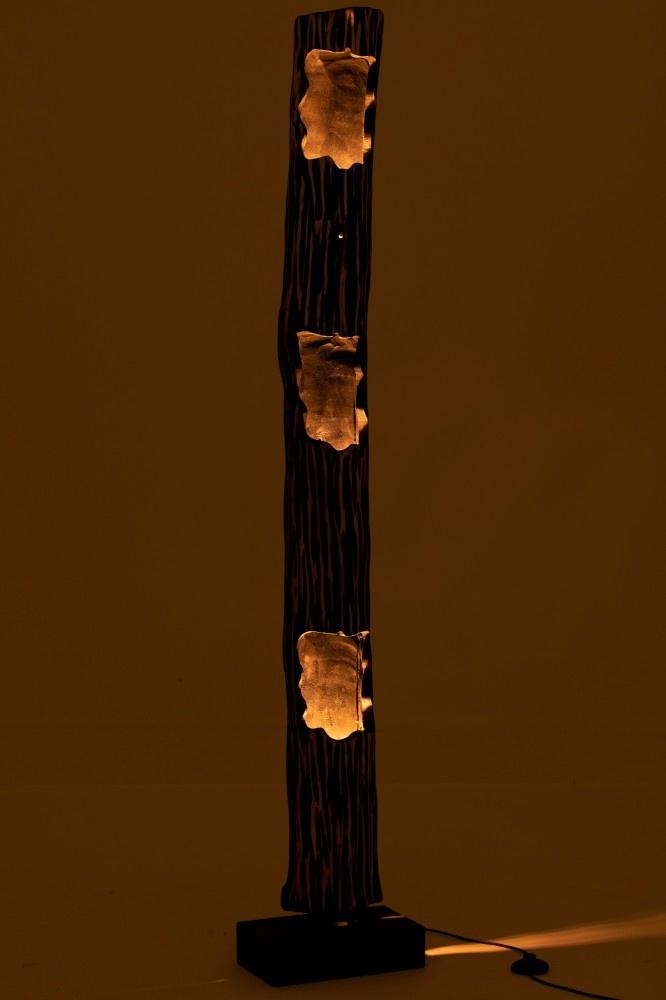 J-line Lamp Staand Stam 3Gaten Paulownia Gestreept Zwart Beige