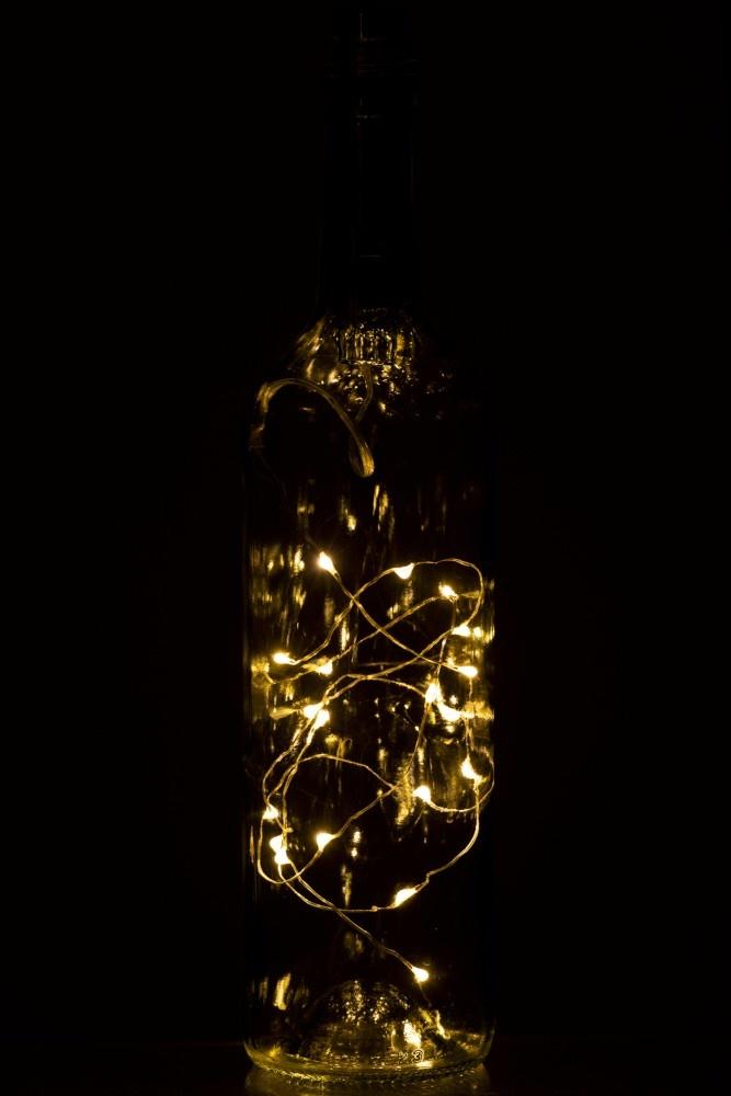 J-line Flesverlichting 20Leds 1M Warm White 1Xaabatterij Goud-96276-5415203962768