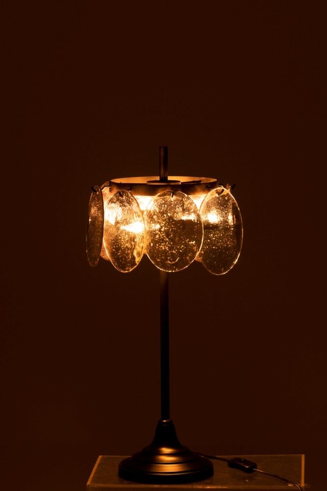 J-line Tafellamp Foliorium Metaal/Glas Zwart Zilver-96295-5415203962959