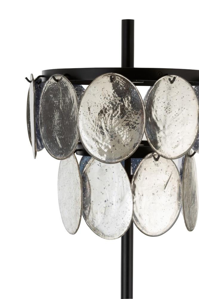 J-line Lamp Staande Foliorium Metaal/Glas Zwart Zilver-96296-5415203962966