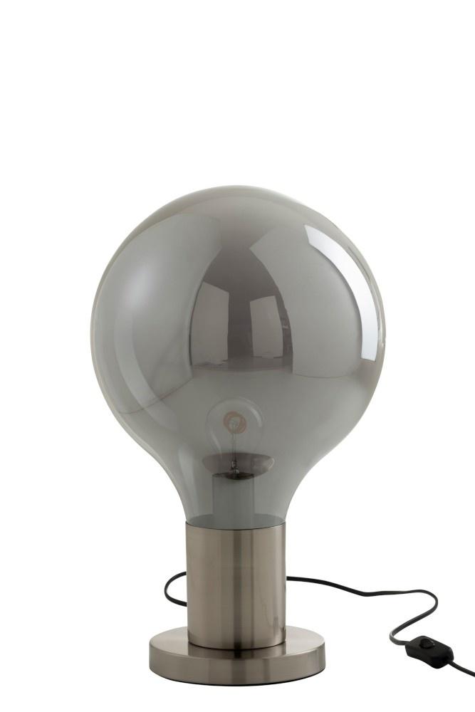 J-line Tafellamp Ballon Glas/IJzer Grijs/Zilver