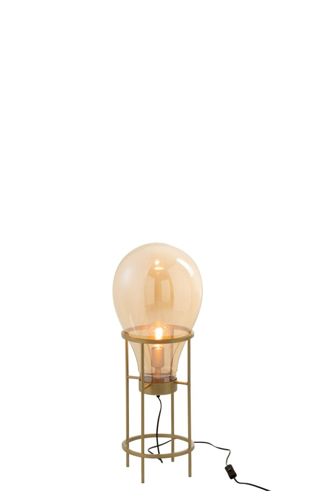 J-line Lamp Luchtballon Glas/Metaal Goud Small-96335-5415203963352