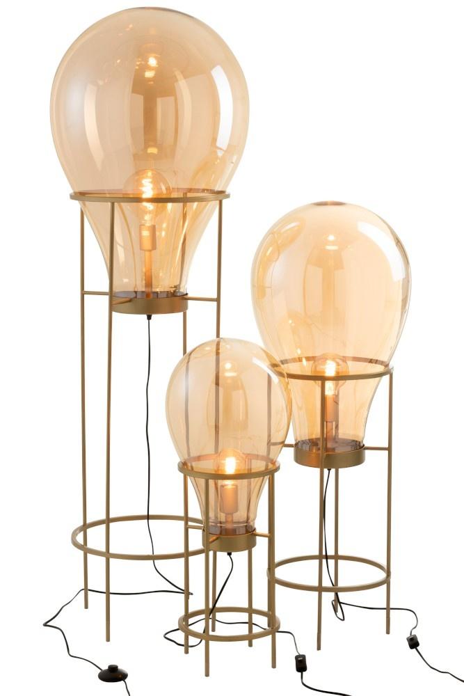 J-line Lamp Luchtballon Glas/Metaal Goud Large
