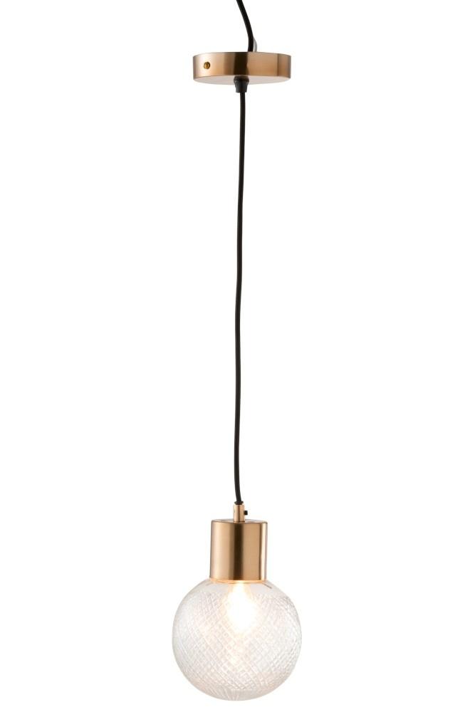J-line Hanglamp Bol Glas Goud M-96346-5415203963468