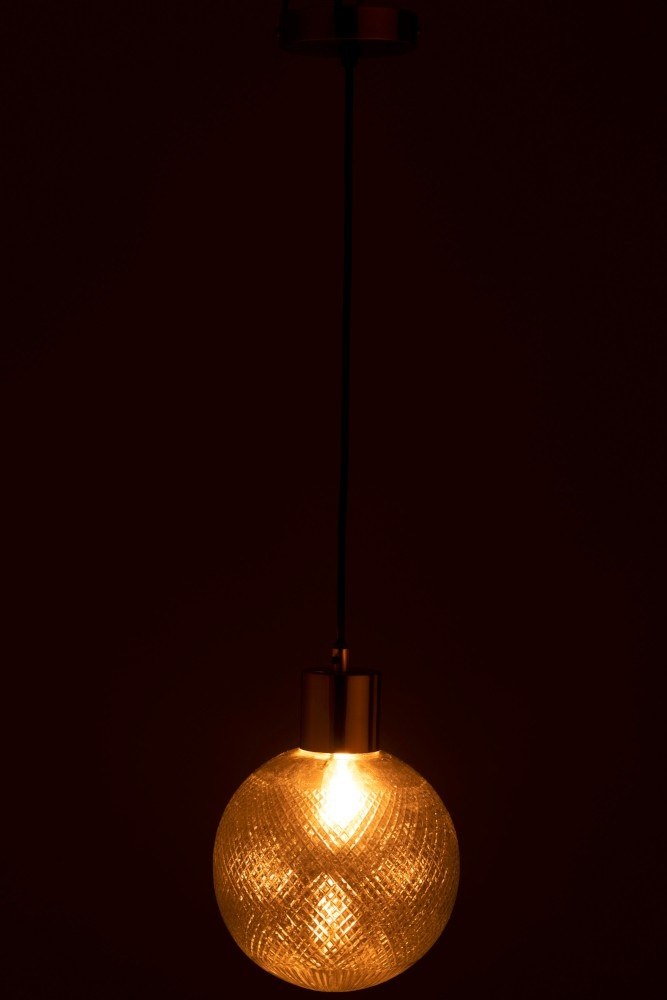 J-line Hanglamp Bol Glas Goud L-96347-5415203963475