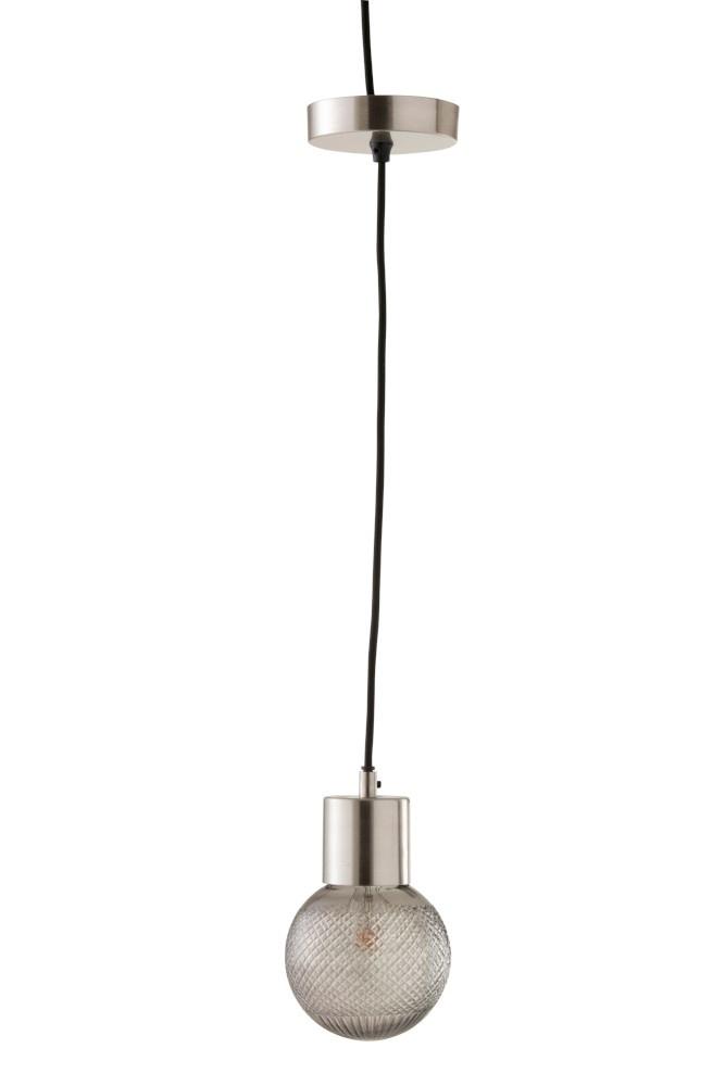 J-line Hanglamp Bol Glas Zilver S-96349-5415203963499