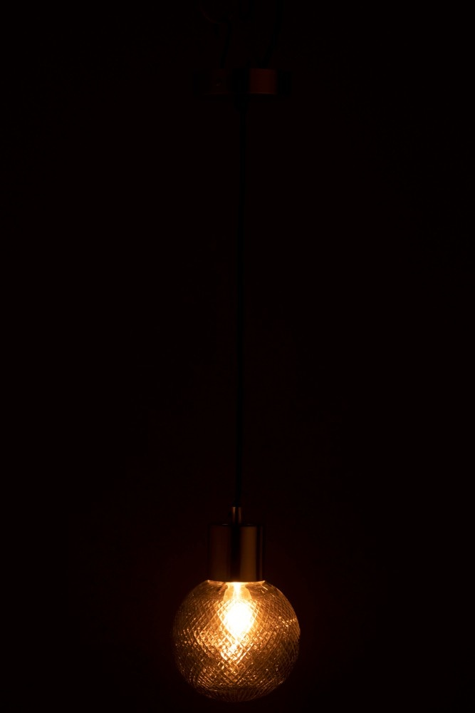 J-line Hanglamp Bol Glas Zilver M