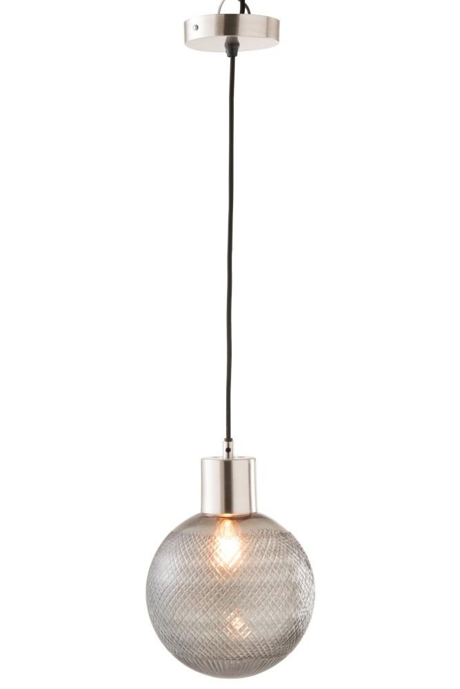 J-line Hanglamp Bol Glas Zilver L-96351-5415203963512