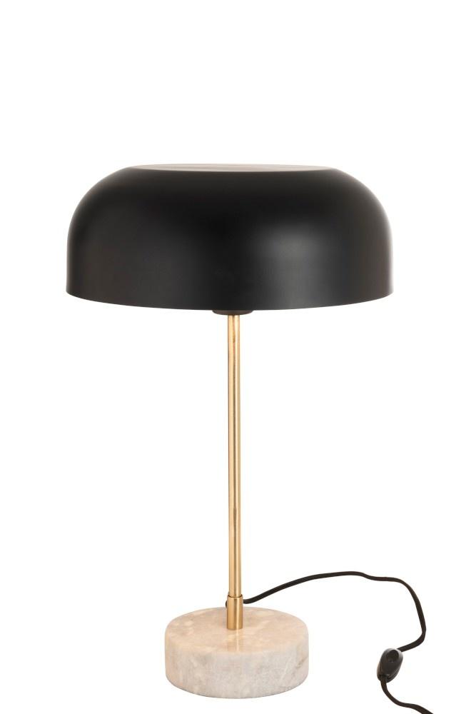 J-line Tafellamp Paddenstoel Metaal Marmer Goud Zwart-96359-5415203963598