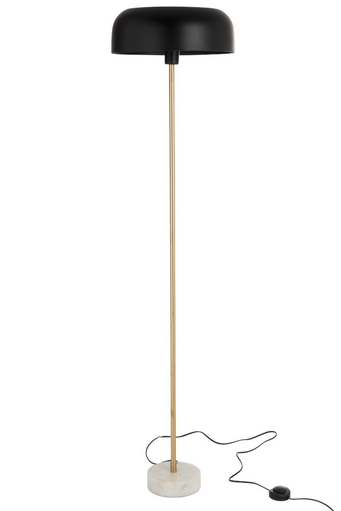 J-line Staanlamp Paddenstoel Metaal Marmer Goud Zwart