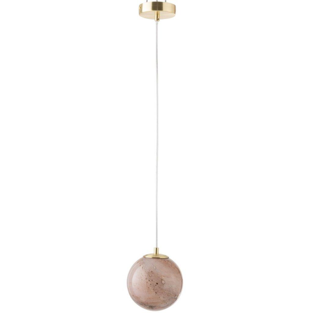 J-line Hanglamp Dany Rond Glas Rose - 96463