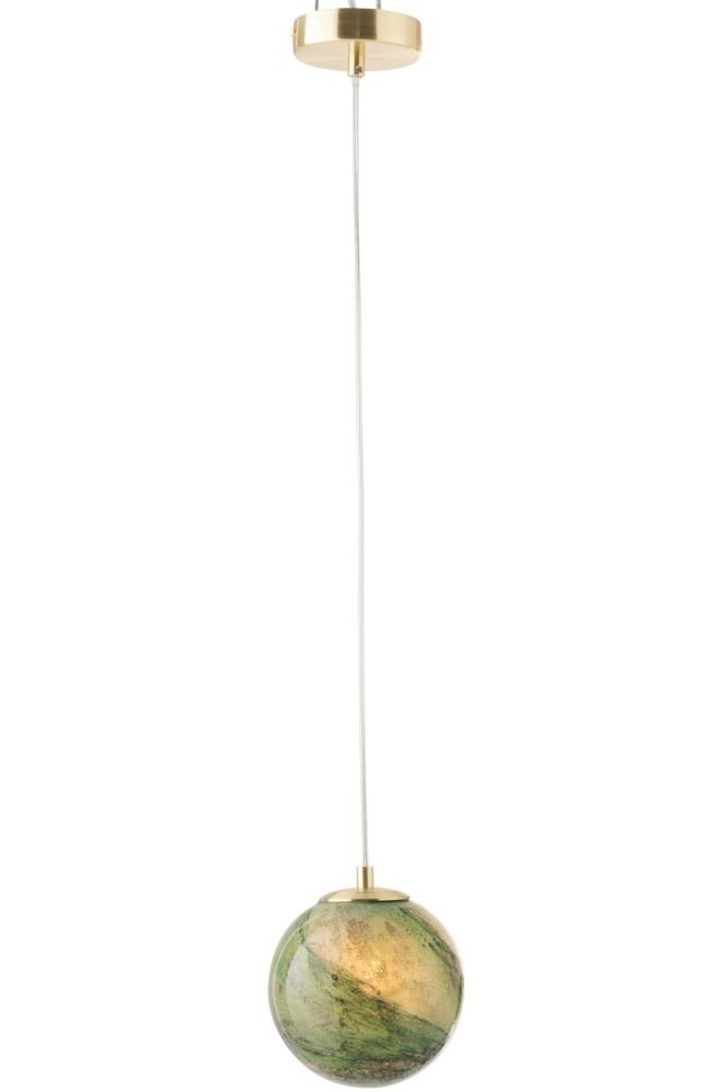 J-line Hanglamp Dany Rond Glas Groen
