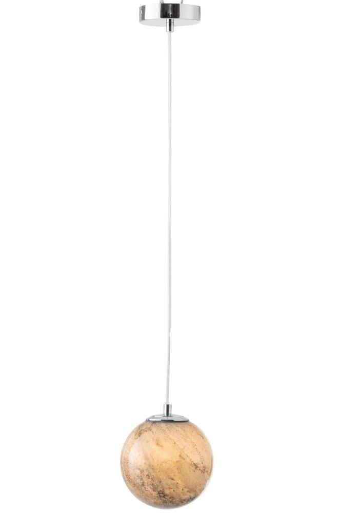 J-line Hanglamp Dany Rond Glas Grijs-96465-5415203964656