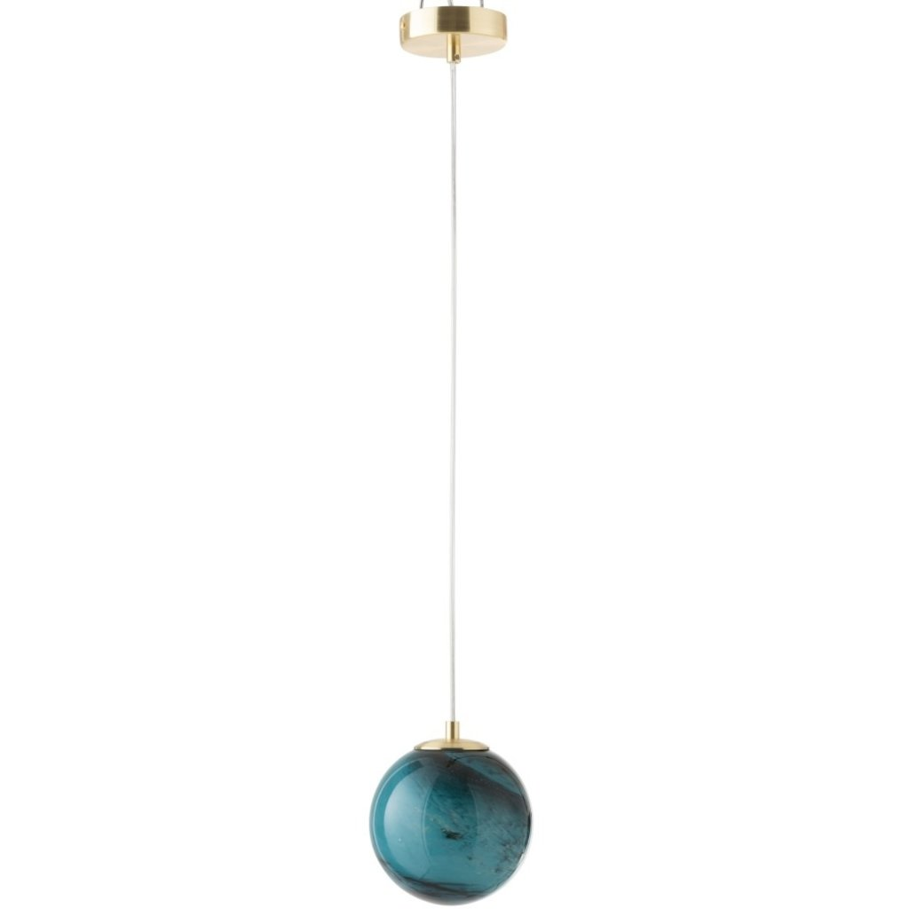 J-line Hanglamp Dany Rond Glas Blauw - 96474