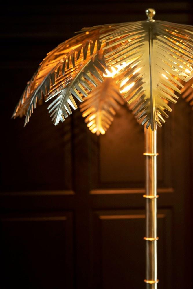 J-line Tafellamp Kokosbladeren Staal Goud-96492-5415203964922