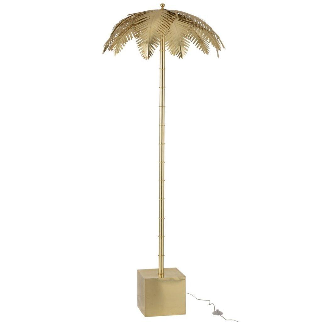 J-line Lamp Staand Kokosbladeren Staal Goud - 96493