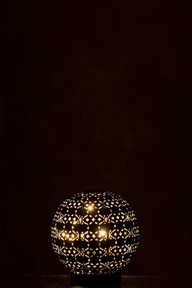 J-line Lamp Led Bal Oosters Batterij Metaal Zwart/White Wash Small-96724-5415203967244