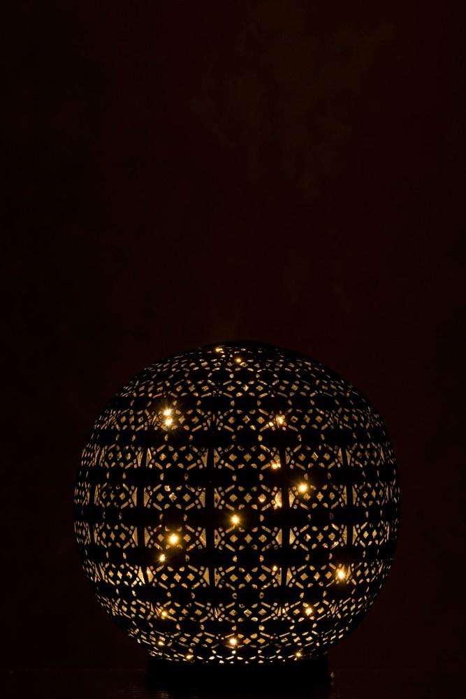 J-line Lamp Led Bal Oosters Batterij Metaal Zwart/White Wash Large-96725-5415203967251