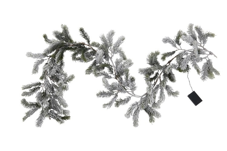 J-line Slinger Kerstboom+Led Plastiek Groen+Sneeuw-97430-5415203974303