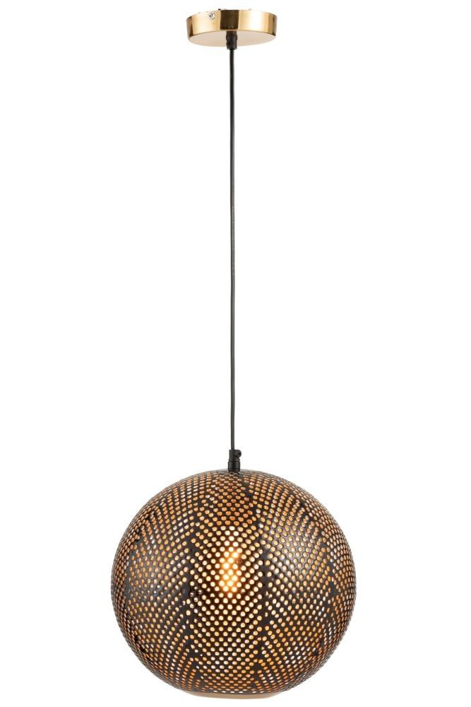 J-line Hanglamp Gaatjes Metaal Goud/Lak Zwart-97979-5415203979797