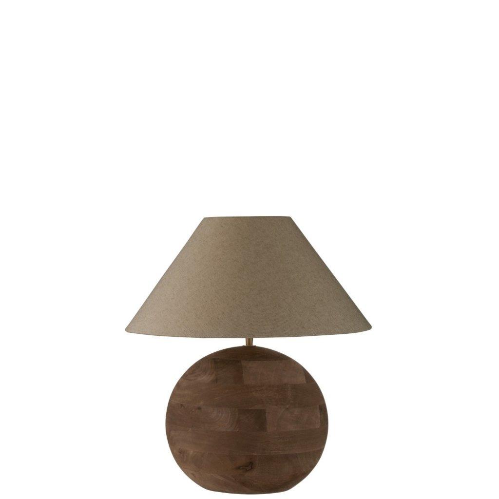 J-line Lamp+Kap Bol Mia Mangohout Bruin Small - 99007